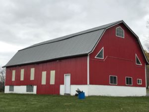 Metal Roof on a Red Barn